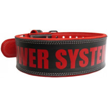 Пояс кожаный Power System Power BEAST PS-3830 (Black-Red) - atletmarket.com.ua